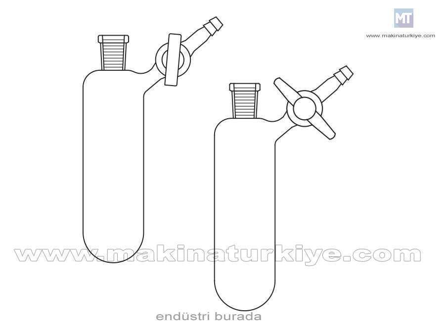 10 ~ 250Ml Azot Schlenk Dişi Şilifli Laboratuvar Balonu