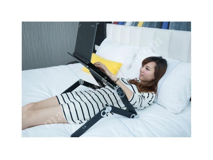 Portatif Katlanabilir Eğimli Soğutuculu Fanlı Laptop Sehpası