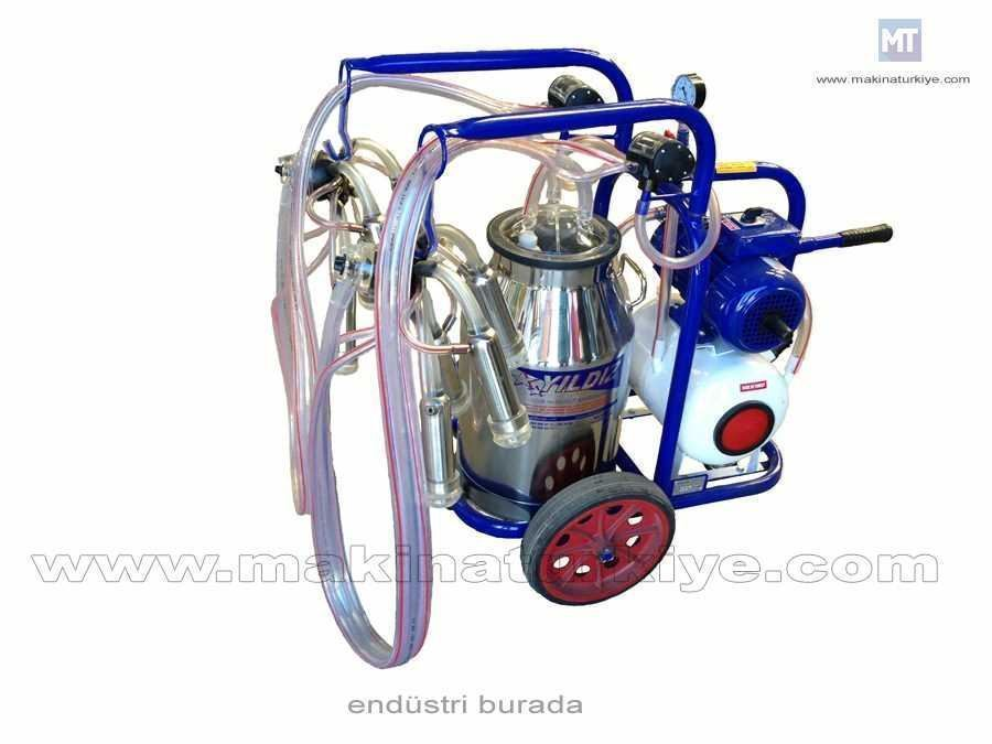 Çiftli Süt Sağım Makinesi - Arabalı Tanklı Tip Full Yağlı