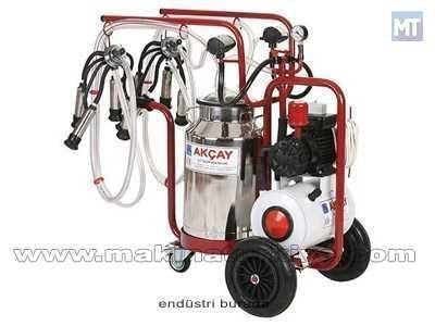 3 Tekerlekli Çiftli Arabalı, Kuru Motor Sistemli Süt Sağım Makinesi / Akçay Ak-M...
