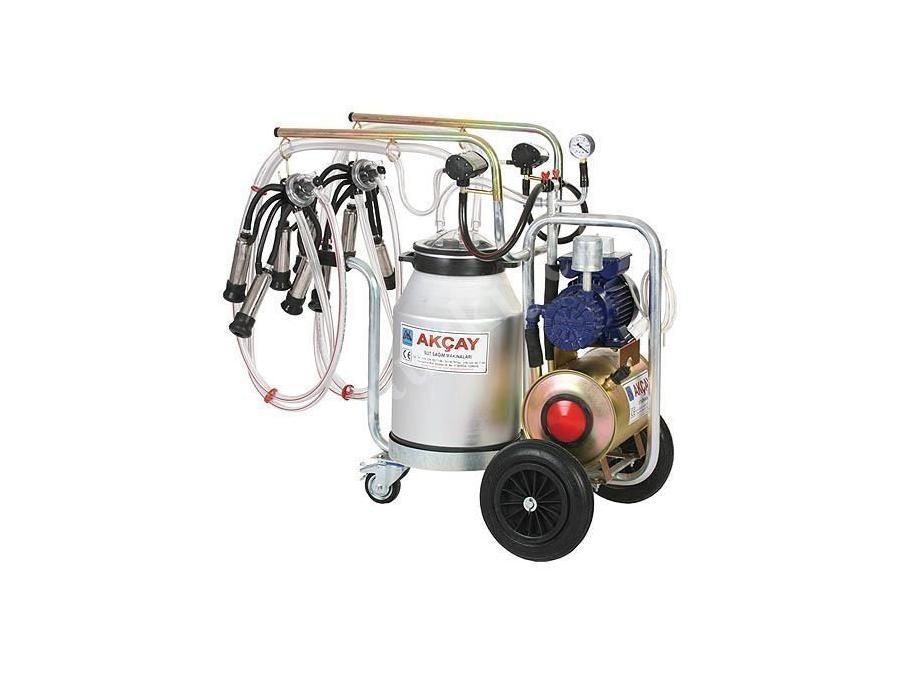 Kuru Motor Sistemli,3 Tekerlekli Çiftli Arabalı Süt Sağım Makinesi / Akçay Ak-Mk-2k/S-402