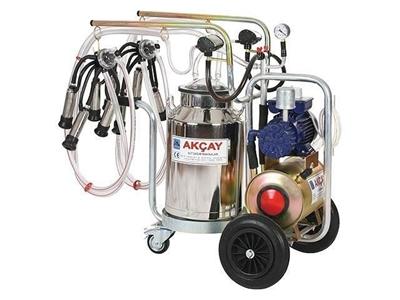 Çiftli Arabalı, 3 Tekerlekli, Kuru Motor Sistemli Süt Sağım Makinesi / Akçay Ak-Mk-2k/S-403